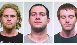 FILE - This combo made of undated file photos provided by the Chicago Police Department shows from left, Brent Vincent Betterly, of Oakland Park, Fla., Jared Chase, of Keene, N.H., and Brian Church, of Ft. Lauderdale, Fla. On Friday, Feb. 7, 2014, a jury in Chicago acquitted the three NATO summit protesters of breaking Illinois' rarely tested state terrorism law, but did convict them on lesser arson counts. (AP Photo/Chicago Police Department, File)
