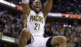 Indiana Pacers forward David West gets a dunk to give the Pacers a 4-point lead during overtime of an NBA basketball game against the Portland Trail Blazers in Indianapolis, Friday, Feb. 7, 2014. The Pacers defeated the Trail Blazers 118-113. (AP Photo/Michael Conroy)