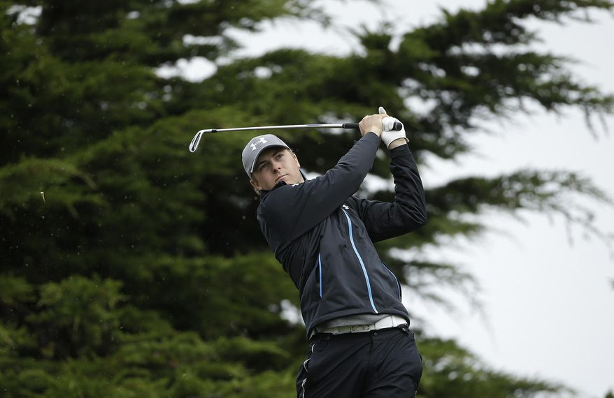 Jordan Spieth hits off the 11th tee Friday, Feb. 7, 2014, during the second round of the AT&T Pebble Beach Pro-Am golf tournament on the Monterey Peninsula Country Club Shore Course in Pebble Beach, Calif. (AP Photo/Ben Margot)