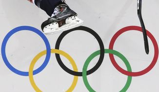 A USA women's ice hockey player jumps over the boards and into bench during third period of the game against Finland at the 2014 Winter Olympics womens ice hockey match at Shayba Arena, Saturday, Feb. 8, 2014, in Sochi, Russia. (AP Photo/J. David Ake)