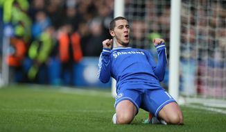 Chelsea's Eden Hazard celebrates after scoring  the second  goal during their English Premier League soccer match between Chelsea and Newcastle United in London, Saturday, Feb. 8  2014. (AP Photo/Alastair Grant)