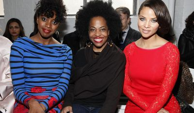 From left, Condola Rashad, Rhonda Ross and Denise Vasi attend the Tracy Reese 2014 Fall/Winter Collection during Mercedes Benz Fashion Week on Sunday, Feb. 9, 2014, in New York. (Photo by Amy Sussman/Invision/AP)