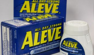 FILE - In this Tuesday, Dec. 21, 2004, file photo, several Aleve tablets appear in front of bottles of the pain reliever, in Boston.  Federal health experts are taking a second look this week at the heart safety of pain medications used by millions of Americans to treat arthritis and other everyday aches and pains. (AP Photo/Steven Senne, File)