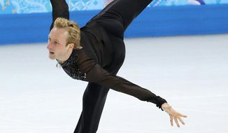 Evgeni Plushenko of Russia competes in the men's team free skate figure skating competition at the Iceberg Skating Palace during the 2014 Winter Olympics, Sunday, Feb. 9, 2014, in Sochi, Russia. (AP Photo/Vadim Ghirda)