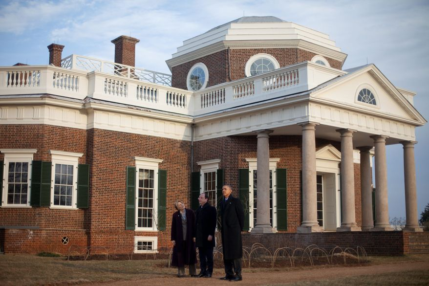 President Barack Obama, right, and French President Francois Hollande, center, tour the grounds of Monticello, President Thomas Jefferson's estate, Monday, Feb. 10, 2014, in Charlottesville, Va. Leading the tour is Leslie Bowman, far left, President, Thomas Jefferson Foundation. (AP Photo/Pablo Martinez Monsivais)