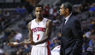 FILE - In this Dec. 10, 2013 file photo, Detroit Pistons guard Brandon Jennings (7) talks with head coach Maurice Cheeks in the second half of an NBA basketball game in Auburn Hills, Mich. Detroit fired Cheeks on Sunday, Feb. 9, 2014, after less than a year as coach, with the Pistons languishing well below .500 despite offseason moves aimed at putting the struggling franchise back in contention. (AP Photo/Paul Sancya, File)