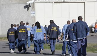 File - In this Feb. 26, 2013, file photo, inmates walk through the exercise yard at California State Prison Sacramento, near Folsom, Calif. Federal judges on Monday, Feb. 10, 2014, gave California two more years to meet a court-ordered prison population cap, the latest step in a long-running lawsuit aimed at improving inmate medical care. (AP Photo/Rich Pedroncelli, File)