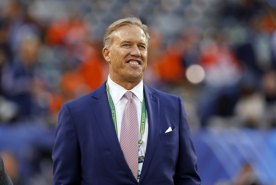 Denver Broncos Executive Vice President of Football Operations John Elway watches during warmups agains the Seattle Seahawks before the NFL Super Bowl XLVIII football game at MetLife Stadium Sunday, Feb. 2, 2014, in East Rutherford, N.J. The Seahawks won 43-8. (AP Photo/Paul Sancya)