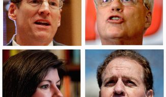 Clockwise from top left: Rep. Jack Kingston, Rep. Paul Broun, Rep. Phil Gingrey and former Georgia Secretary of State Karen Handel are all competing for the Republican nomination in the U.S. Senate primary. Sen. Saxby Chambliss, also a Republican, is vacating the seat. (ASSOCIATED PRESS)