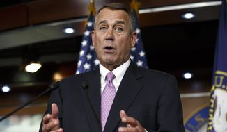 """FILE - In this Feb. 6, 2014 file photo, House Speaker John Boehner of Ohio speaks during a news conference on Capitol Hill in Washington. In a concession to President Barack Obama and Democratic lawmakers, Boehner said Tuesday the House will vote to increase the government's borrowing cap without trying to attach conditions sought by some Republicans. """"We'll let his party give him the debt ceiling increase that he wants,"""" Boehner said, hours before the expected evening vote.  (AP Photo/J. Scott Applewhite, File)"""