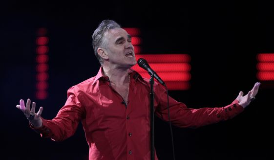 In this Friday Feb. 24, 2012 file photo, British singer Morrissey performs at the 53rd annual Vina del Mar International Song Festival in Vina del Mar, Chile.  (AP Photo/Jorge Saenz, File)