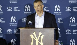New York Yankees manager Joe Girardi speaks during a news conference, where Masahiro Tanaka of Japan was introduced as a new pitcher for the team, at Yankee Stadium Tuesday, Feb. 11, 2014, in New York.  (AP Photo/Frank Franklin II)
