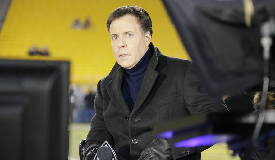 Bob Costas is on the set on the field before an NFL football game between the Pittsburgh Steelers and the Cincinnati Bengals on Sunday, Dec. 15, 2013 in Pittsburgh. (AP Photo/Gene J. Puskar)