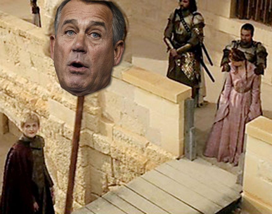 PHOTO ILLUSTRATION Scene from Game of Thrones and John Boehner.