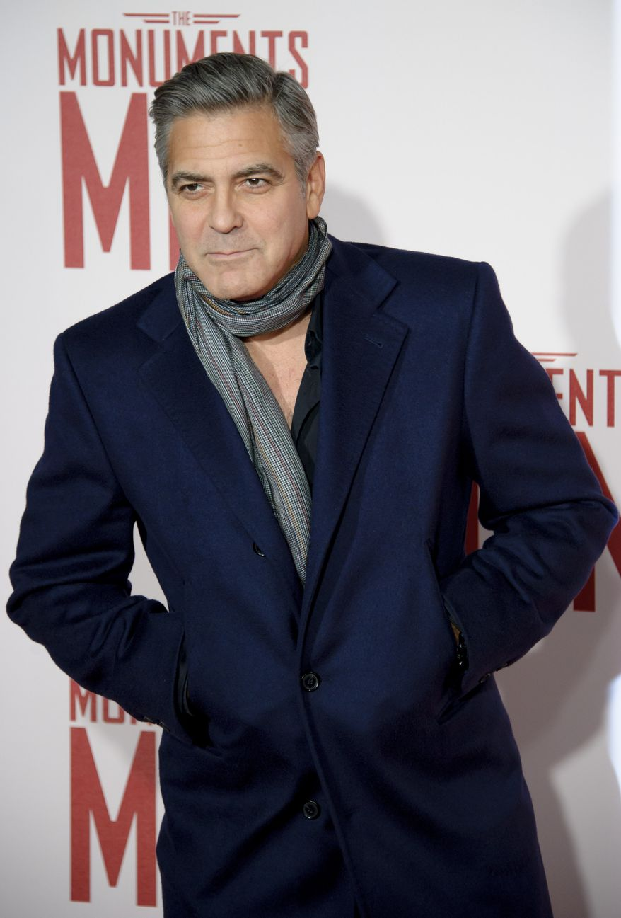 "U.S actor George Clooney arrives for the UK Premiere of ""The Monuments Men"" at a central London cinema, London, Tuesday, Feb. 11, 2014. (Photo by Jonathan Short/Invision/AP)"