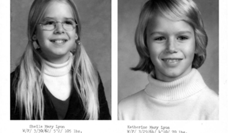 This handout image provided by the Montgomery County, Md., Police Department shows the original missing person/suspicious circumstances bulletin for the 1975 disappearance of two young sisters in Maryland, Sheila Lyon and Katherine Lyon, who never returned home from a shopping mall. Police in Maryland say a convicted sex offender currently imprisoned in Delaware has emerged as a person of interest in the disappearance of the two young sisters.  (AP Photo/Montgomery County, Md., Police Department)