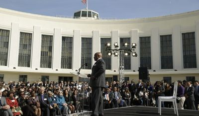 Former San Francisco Mayor and California State Assembly Speaker Willie Brown speaks to several hundred and closes his remarks during the dedication of the Willie L. Brown, Jr. Bridge at Treasure Island Tuesday, Feb. 11, 2014, in San Francisco. The western span of the San Francisco-Oakland Bay Bridge is now named for the former speaker and mayor. (AP Photo/Eric Risberg)