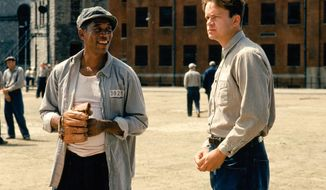 "Actors Morgan Freeman and Tim Robbins in the prison flick ""Shawshank Redemption."""