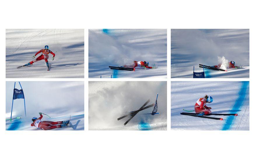 This combination of six images shows Switzerland's Nadja Jnglin-Kamer crashing near the finish line during a women's downhill training run for the Sochi 2014 Winter Olympics, Saturday, Feb. 8, 2014, in Krasnaya Polyana, Russia.(AP Photo/Christophe Ena)