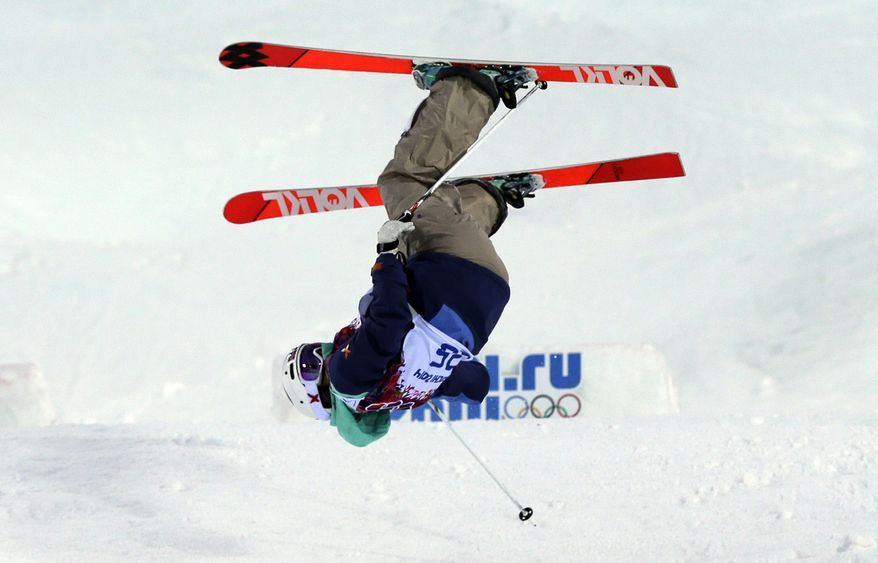 Norway's Hedvig Wessel crashes during women's moguls qualifying at the Rosa Khutor Extreme Park, at the 2014 Winter Olympics, Saturday, Feb. 8, 2014, in Krasnaya Polyana, Russia. (AP Photo/Andy Wong)