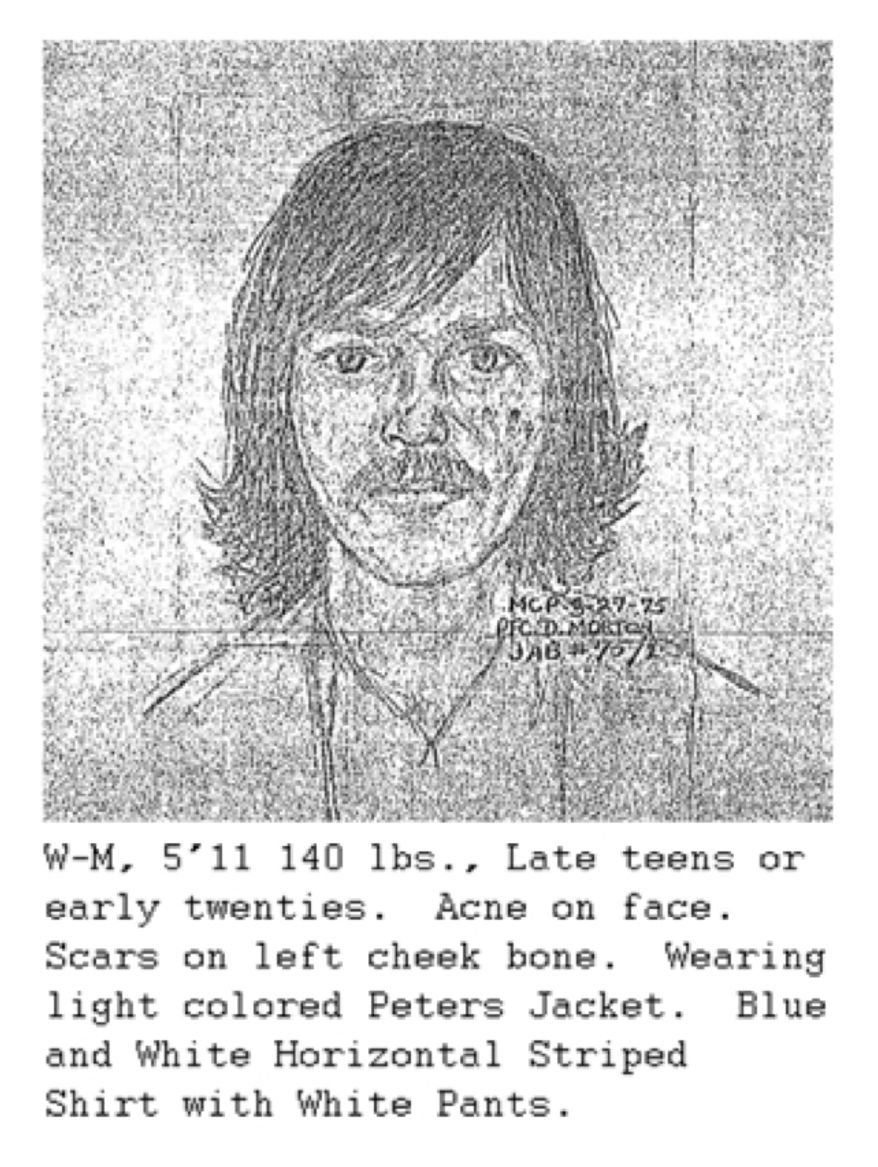 Sketch provided by witness who was at Wheaton Plaza on the day of the Lyon sisters' disappearance. The witness stated that the person depicted in the sketch was fixated on the girls.