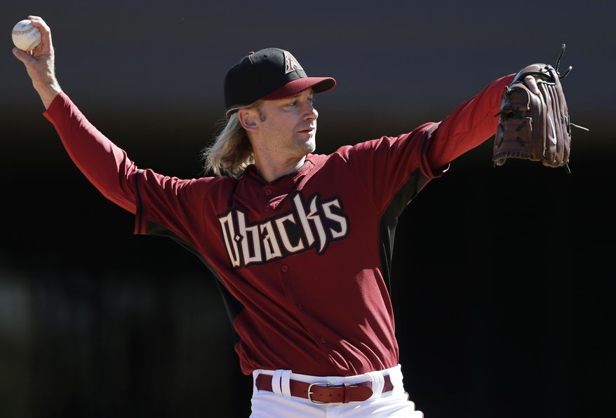 Arizona Diamondbacks pitcher Bronson Arroyo throws during baseball spring training, Wednesday, Feb. 12, 2014, in Scottsdale, Ariz. The Diamondbacks made the signing of Arroyo official Wednesday, five days after the two-year, $23.5 million deal was widely reported. (AP Photo/Gregory Bull)