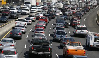 FILE - In this Sept. 1, 2006 file photo, traffic crawls along Interstate 5 in Los Angeles. Interstate 5 is California's most congested, according to new data from the state Department of Transportation. (AP Photo/Nick Ut, File)