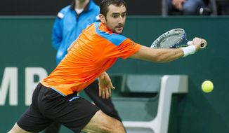 Croatian Marin Cilic returns the ball to Dutch player Igor Sijsling, during their semi-finals match, of the 41st ABN AMRO world tennis tournament, at Ahoy Arena,  in Rotterdam, Netherlands, Saturday Feb. 15, 2014. (AP Photo/Patrick Post)