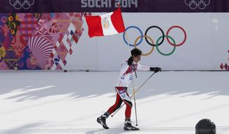 Peru's Roberto Carcelen skis with the Peruvian flag during the men's 15K classical-style cross-country race at the 2014 Winter Olympics, Friday, Feb. 14, 2014, in Krasnaya Polyana, Russia. (AP Photo/Dmitry Lovetsky)