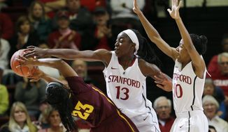 Stanford forward Chiney Ogwumike (13) blocks a shot attempt by Arizona State guard Elisha Davis (23) as guard Briana Roberson (10) helps defend during the first half of an NCAA college basketball game on Friday, Feb. 14, 2014, in Stanford, Calif. (AP Photo/Marcio Jose Sanchez)