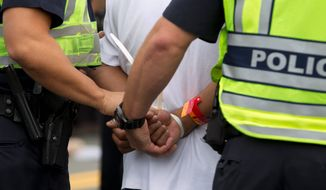 A demonstrator is arrested by U.S. Capitol Police officers on Capitol Hill during a immigration rally in Washington, on Tuesday, Oct. 8, 2013, seeking to push Republicans to hold a vote on a stalled immigration reform bill. (AP Photo/Jose Luis Magana)