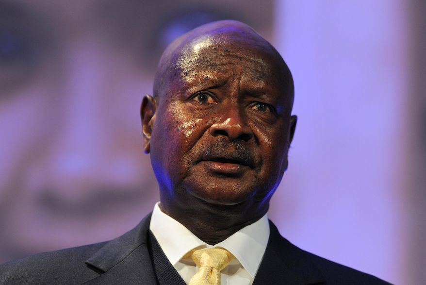 In this Wednesday, July 11, 2012 file photo, Ugandan President Yoweri Museveni speaks during the London Summit on Family Planning in central London. (AP Photo/Carl Court, Pool, File)