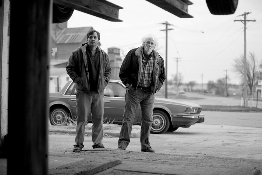 """This image released by Paramount Pictures shows Will Forte as David Grant, left, and Bruce Dern as Woody Grant in a scene from the film """"Nebraska."""" (AP Photo/Paramount Pictures, Merie W. Wallace)"""
