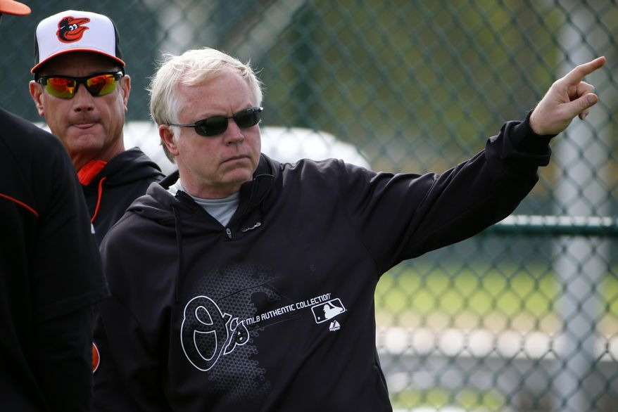 Baltimore Orioles manager Buck Showwalter, right, and coach John Russell watch batting practice at the baseball team's spring training facility in Sarasota, Fla., Thursday, Feb. 13, 2014. Orioles pitchers and catchers are scheduled for their first workout Friday, with the first full-squad workout on Wednesday. (AP Photo/Gene J. Puskar)