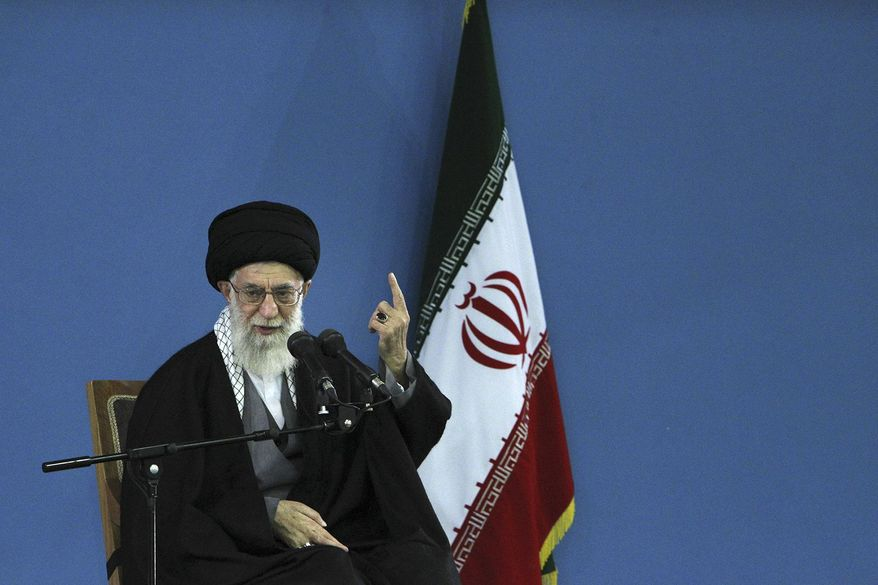 In this picture released by an official website of the office of the Iranian supreme leader, Supreme Leader Ayatollah Ali Khamenei delivers a speech in Tehran, Iran, Monday, Feb. 17, 2014. Iran's top leader backs the continuation of nuclear negotiations with the West but says he doubts they will succeed. (AP Photo/Office of the Iranian Supreme Leader)