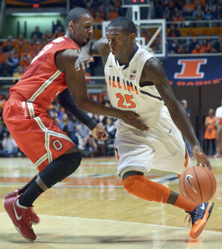 Illinois' Kendrick Nunn (25) drives past Ohio State's guard Shannon Scott during the first half of an NCAA college basketball game in Champaign, Ill., on Saturday, Feb. 15, 2014. (AP Photo/Robin Scholz)