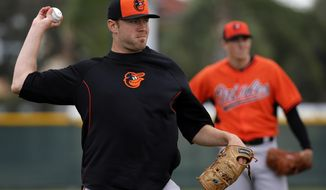 Baltimore Orioles pitcher Chris Tillman, left, throws to first after fielding the ball during a spring training baseball workout in Sarasota, Fla., Saturday, Feb. 15, 2014.  (AP Photo/Gene J. Puskar)