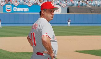 FILE - In this Oct. 9, 1993 file photo, Philadelphia Phillies manger Jim Fregosi watches during batting practice before the start of game 3 of the NLCS in Atlanta. Fregosi, a former All-Star who won more than 1,000 games as a manager for four teams, has died after an apparent stroke. He was 71. The Atlanta Braves say they were notified by a family member that died early Friday, Feb. 14, 2014,  in Miami, where he was hospitalized after the apparent stroke while on a cruise with baseball alumni.  (AP Photo/Ed Reinke)