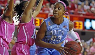 North Carolina's Diamond DeShields (23) is challenged by North Carolina State's Krystal Barrett, center, during the first half of an NCAA college basketball game in Raleigh, N.C., Sunday, Feb. 16, 2014. DeShields had 38 points in North Carolina's 89-82 win. (AP Photo/Karl B DeBlaker)