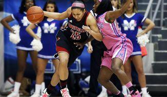 Louisville guard Tia Gibbs (25) runs into Memphis guard Ariel Hearn in the first half of an NCAA college basketball game on Sunday, Feb. 16, 2014, in Memphis, Tenn. (AP Photo/Yalonda M. James)