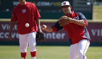 Washington Nationals second baseman Danny Espinosa makes a throw to first base during a spring training baseball workout, Monday, Feb. 17, 2014, in Viera, Fla. (AP Photo/Alex Brandon)