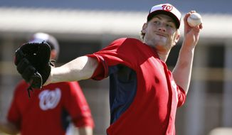 Washington Nationals starting pitcher Ross Detwiler throws during a spring training baseball workout, Monday, Feb. 17, 2014, in Viera, Fla. (AP Photo/Alex Brandon)