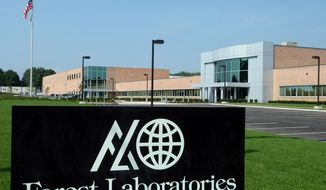 FILE - The Commack, N.Y., branch of Forest Laboratories, a Manhattan-based pharmaceutical company, is seen in this Aug. 4, 2004, file photo. Actavis PLC plans to buy Forest Laboratories Inc. in an approximately $25 billion cash-and-stock combination that will create a drugmaker with a product portfolio that includes drugs like the Alzheimer's disease treatment Namenda. (AP Photo/Newsday, Jim Peppler, File)