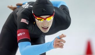 Emery Lehman of the U.S. competes in the men's 10,000-meter speedskating race at the Adler Arena Skating Center during the 2014 Winter Olympics in Sochi, Russia, Tuesday, Feb. 18, 2014. (AP Photo/Pavel Golovkin)