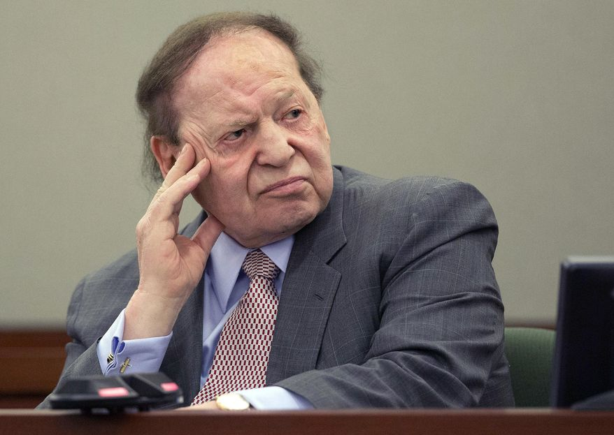 FILE - In this April 5, 2013, file photo, Las Vegas Sands Corp. CEO Sheldon Adelson testifies in Clark County district court in Las Vegas. A Nevada gambling regulator says the hackers who knocked down all Las Vegas Sands websites, Feb. 10, 2014, for two days and counting did not steal any patron data, including credit card information. (AP Photo/Julie Jacobson, File)