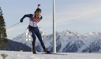 Norway's Ole Einar Bjoerndalen skis during the men's biathlon 20k individual race, at the 2014 Winter Olympics, Thursday, Feb. 13, 2014, in Krasnaya Polyana, Russia. (AP Photo/Kirsty Wigglesworth)