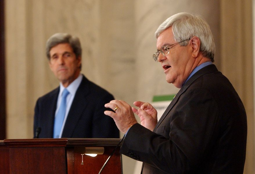 **FILE** Former House Speaker Newt Gingrich (right) and Sen. John Kerry, Massachusetts Democrat, take part April 10, 2007, in a debate on global warming on Capitol Hill. (Associated Press)