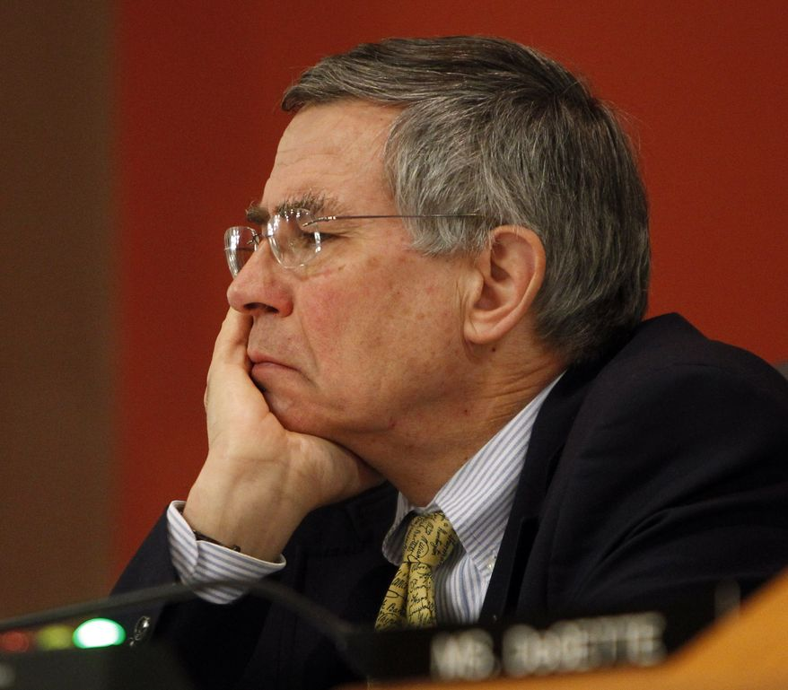 Committee member Rep. Rush Holt, D-N.J., listens to testimony before a Subcommittee on Energy and Mineral Resources on proposed nationwide drilling rules on hydraulic fracturing at the Capitol in Denver on Wednesday, May 2, 2012. (AP Photo/Ed Andrieski)