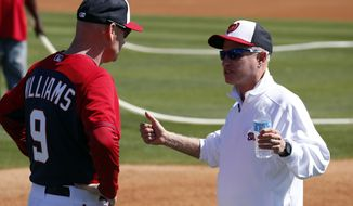 Washington Nationals manager Matt Williams talks with principal owner Mark Lerner during a spring training baseball workout, Monday, Feb. 17, 2014, in Viera, Fla. (AP Photo/Alex Brandon)