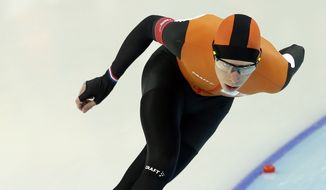 Jorrit Bergsma of the Netherlands competes in the men's 10,000-meter speedskating race at the Adler Arena Skating Center during the 2014 Winter Olympics in Sochi, Russia, Tuesday, Feb. 18, 2014. (AP Photo/Patrick Semansky)